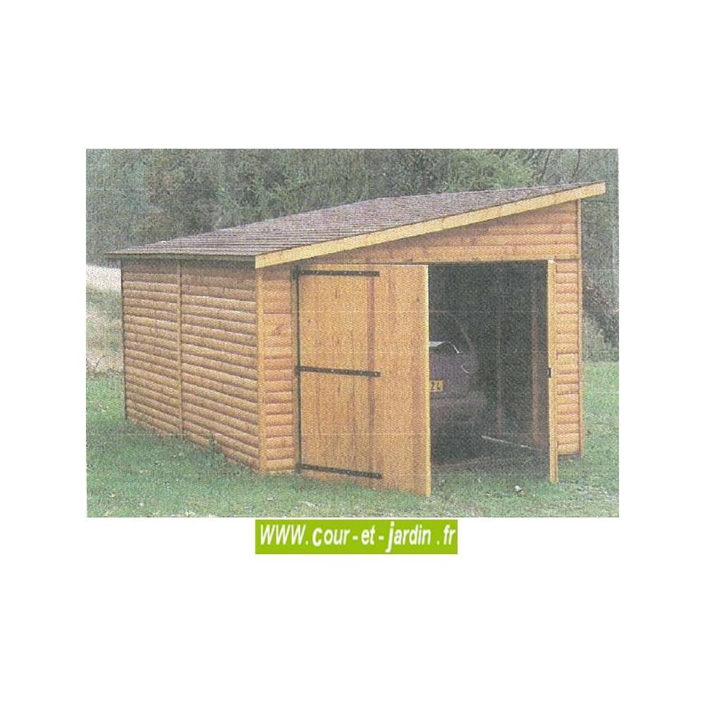 Garage Bois 15M²- 1 Pan-Garages Et Abris Auto Bois- Cour Et ... concernant Abri De Jardin 15M2