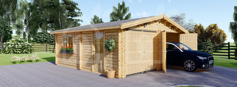 Garage En Bois Double (44 Mm), 6X6 M, 36 M² serapportantà Abri De Jardin 30M2