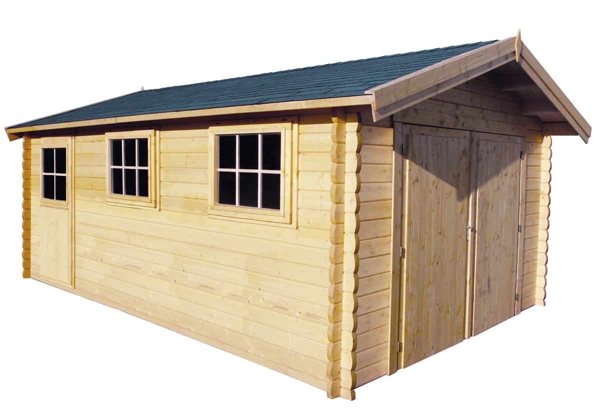 Garage En Madriers Bois 44 Mm, Abri De Jardin En Kit pour Abris De Jardin Carrefour