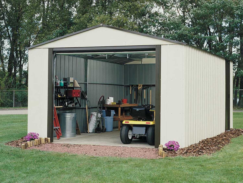 Garage Metal Demontable Arrow Vt1217 Acier Galvanisé 19 M2 tout Abri De Jardin 19M2