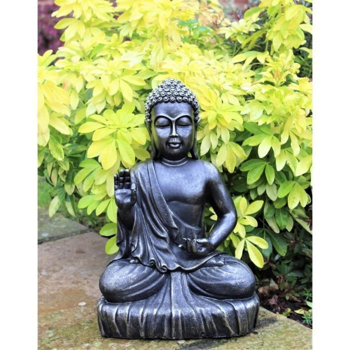 Gris Clair Jardin Figurines Relaxdays Statue De Bouddha ... pour Deco Zen Exterieur