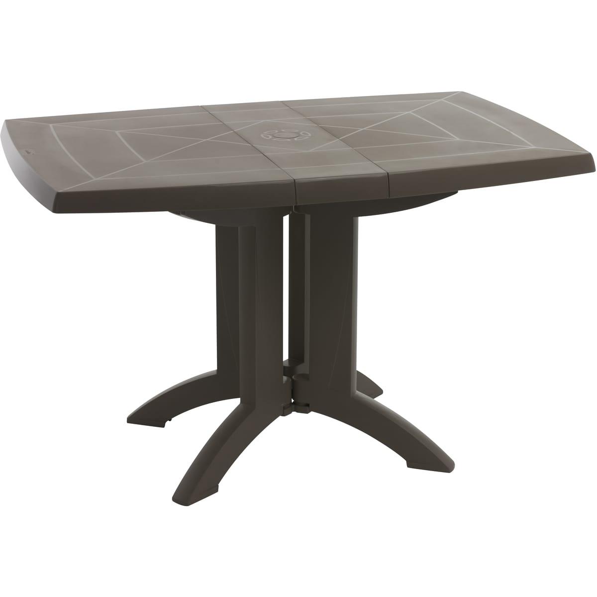 Grosfillex Table De Jardin Pliante 118X77Cm Résine Taupe Vega pour Table De Jardin Auchan