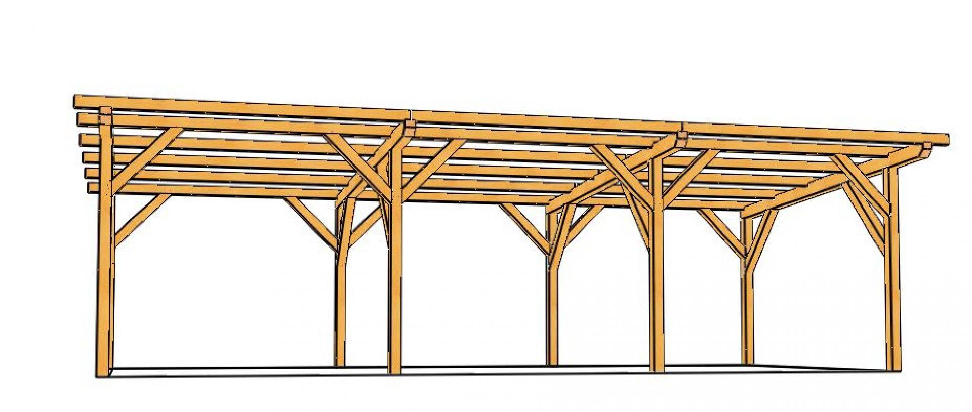 Hangar Bois Monopente (En Sapin Lamellé Collé) À Monter En Kit pour Abri Bois En Kit