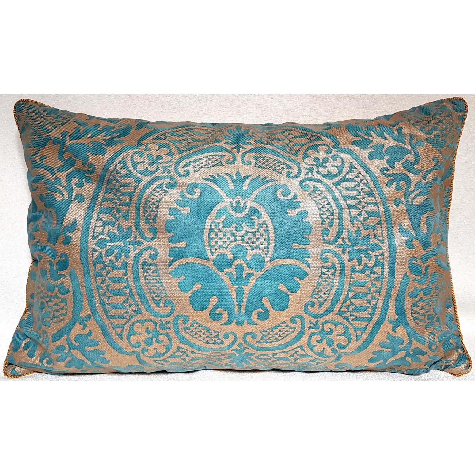 Housse De Coussin Fait Main En Tissu Fortuny Orsini Texture... à Coussin Bleu Vert