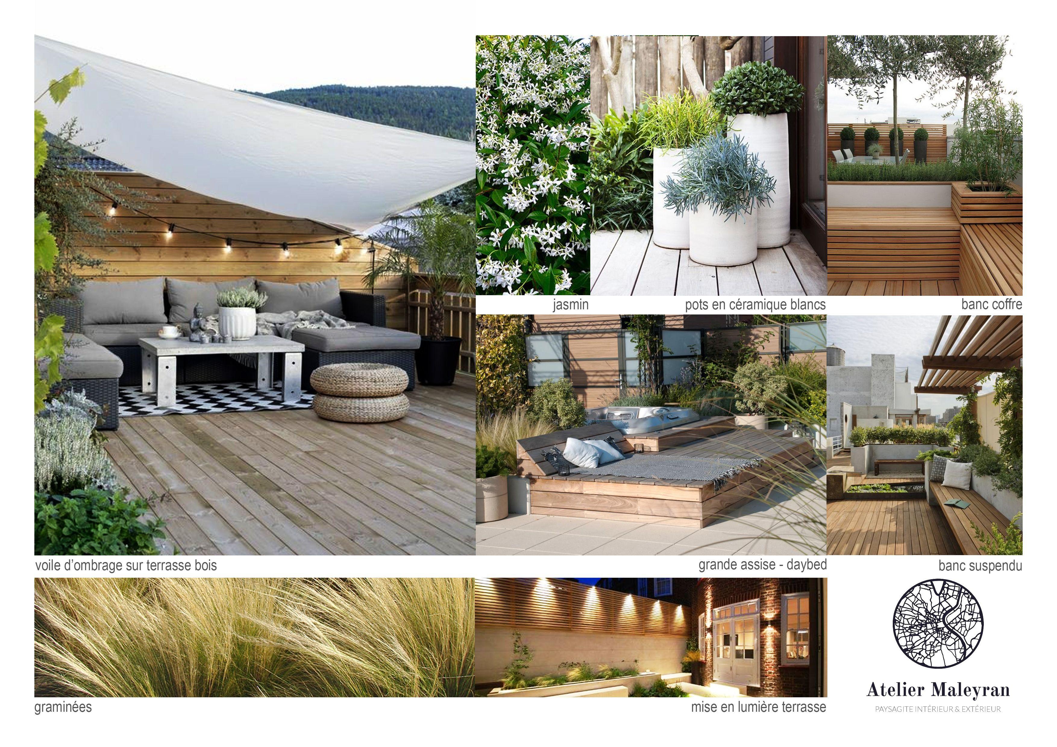 Idées Pour Aménager Une Terrasse Bois Plein Sud #terrasse ... avec Amenager Une Grande Terrasse