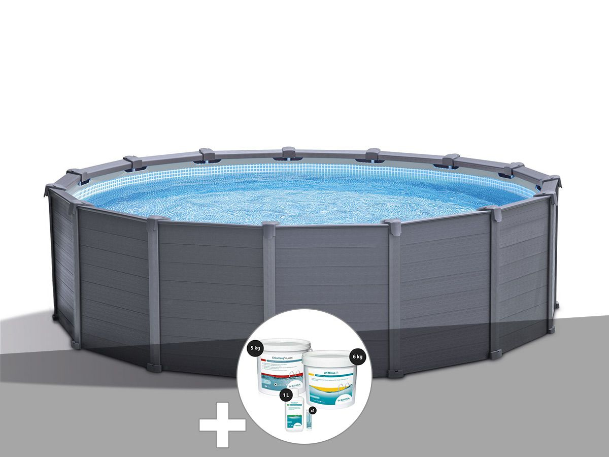 Kit Piscine Tubulaire Intex Graphite Ronde 4,78 X 1,24 M + Kit De  Traitement Au Chlore destiné Piscine Tubulaire Intex Pas Cher