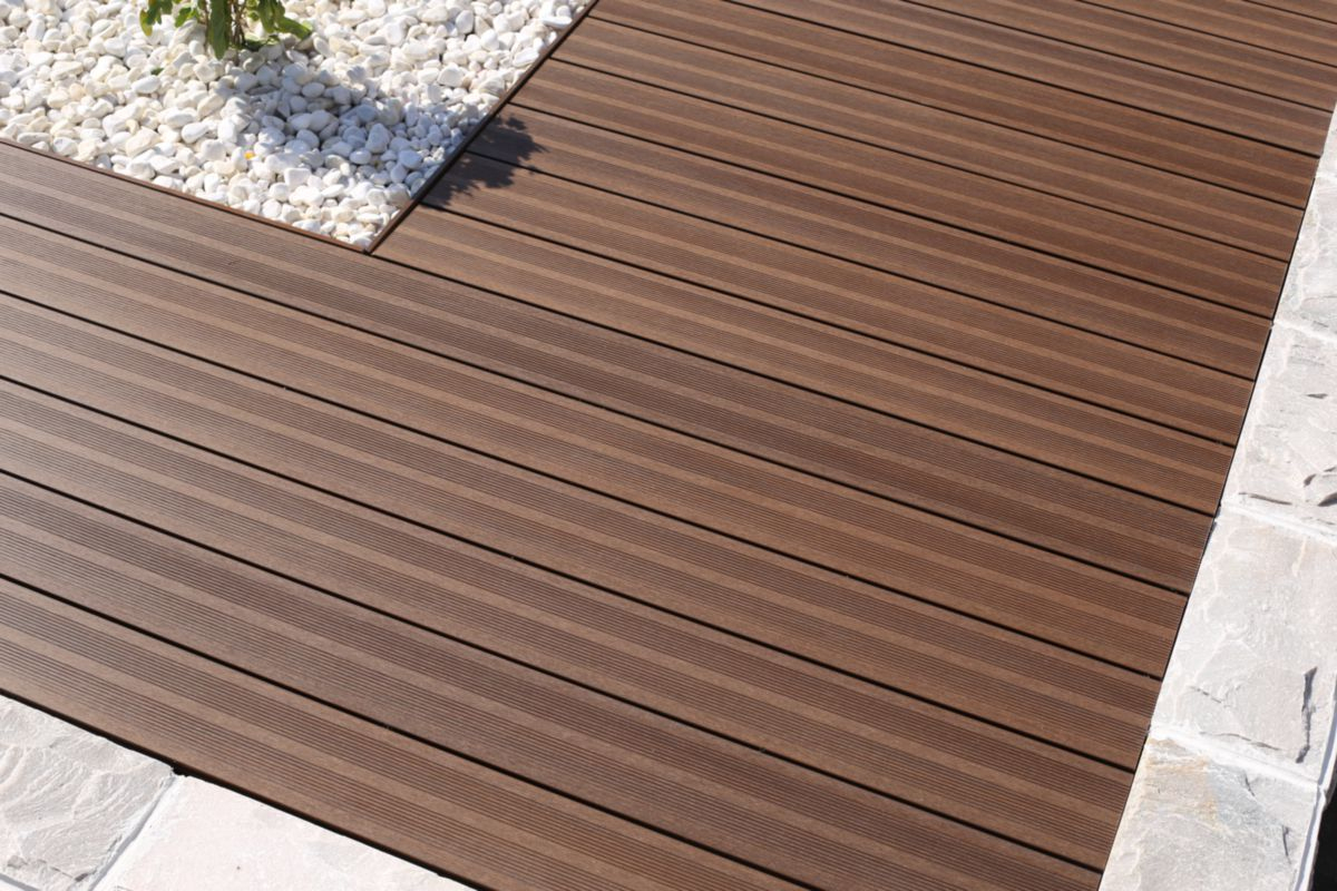 Lame De Terrasse Bois Composite Co-Extrudé Patio - Brun - L. 3,60 M -  22,5X145 Mm à Terrasse Bois Composite