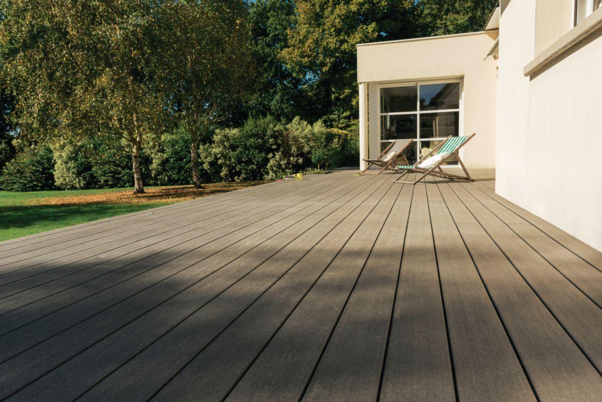 Lame De Terrasse Deck Bois Composite Forexia Elégance Structurée Gris  Anthracite Silvadec - 23X138X4000 Mm concernant Lame De Terrasse En Bois