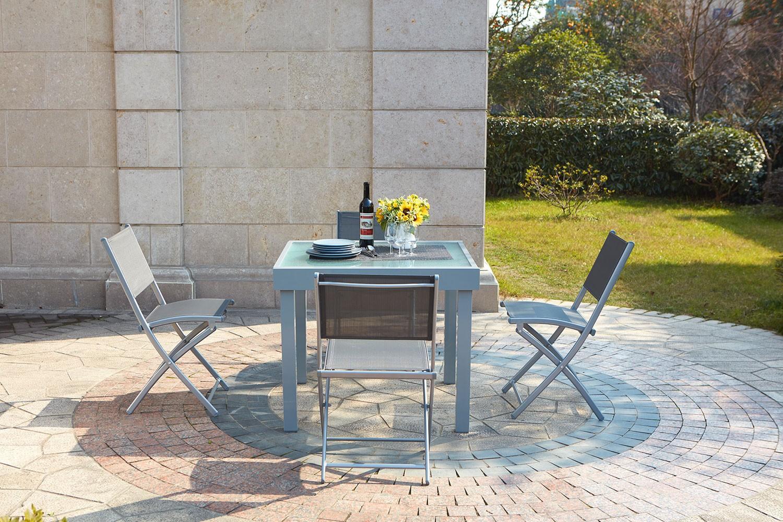 Lycine 4 : Table De Jardin Extensible En Aluminium 8 Personnes + 4 Chaises à Table Exterieur 4 Personnes