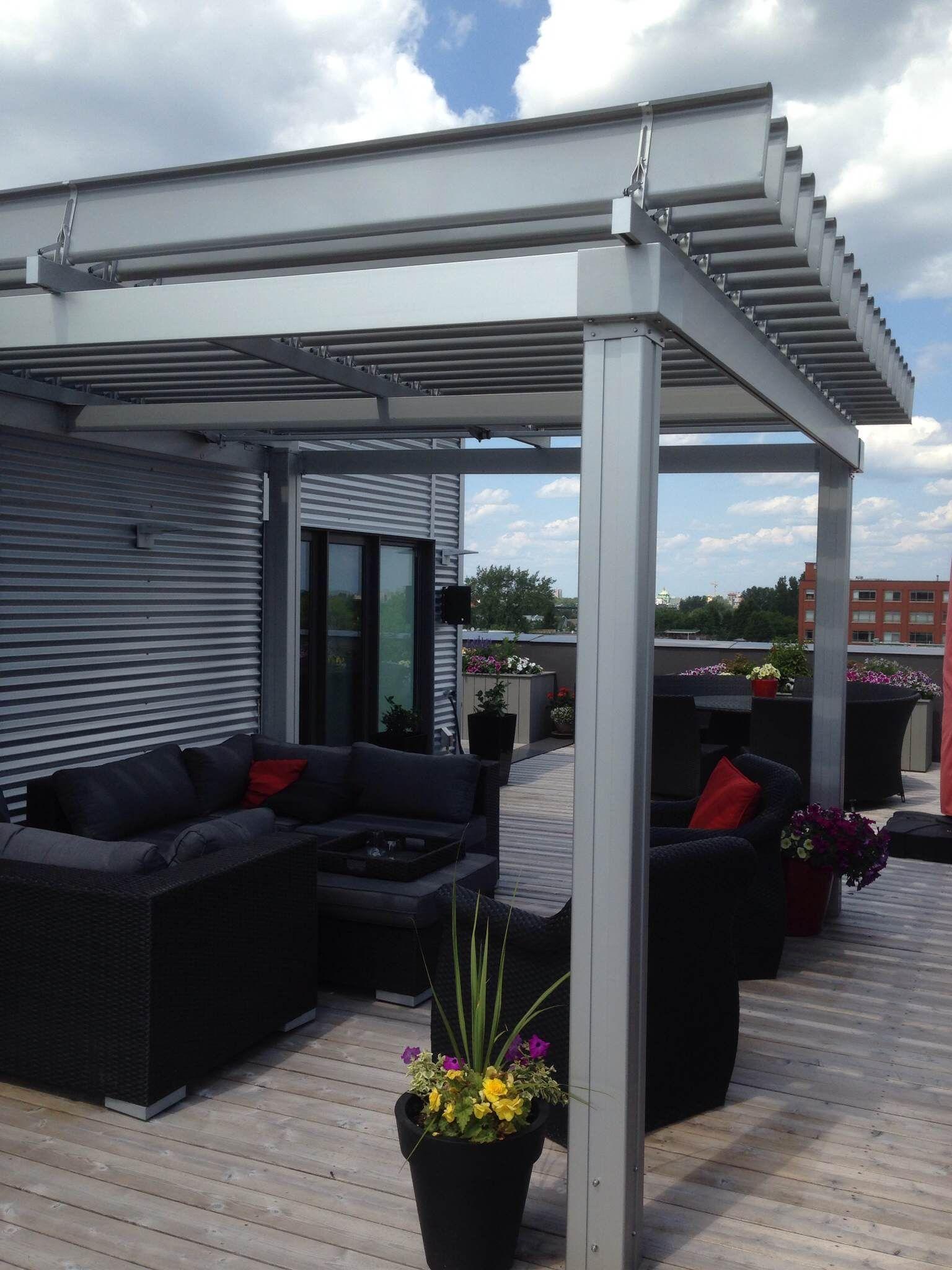Magnifique Sunlouvre Pergolas Sur Toit-Terrasse #pergola ... serapportantà Toit Terrasse Aluminium