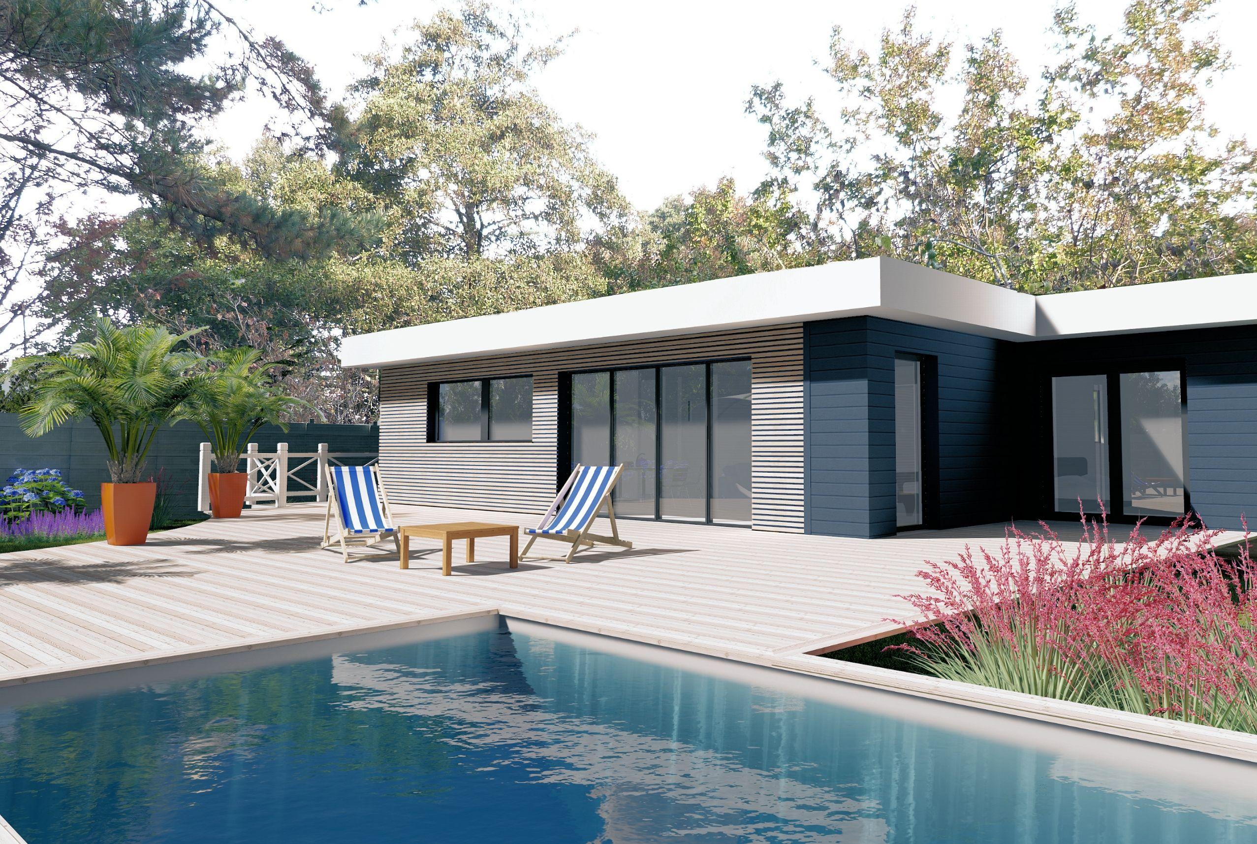Maison En Ossature Bois, Bardage Claire Voie, Terrasse Et ... dedans Acrotere Toit Plat