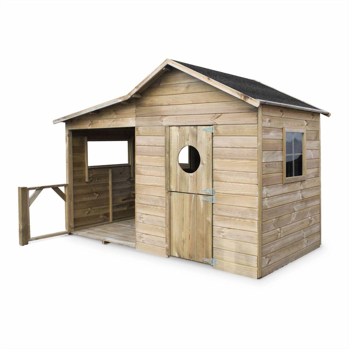 Maisonnette En Bois Fsc Camelia De 3M² Avec Véranda, Pin ... à Abri Jardin Autoclave