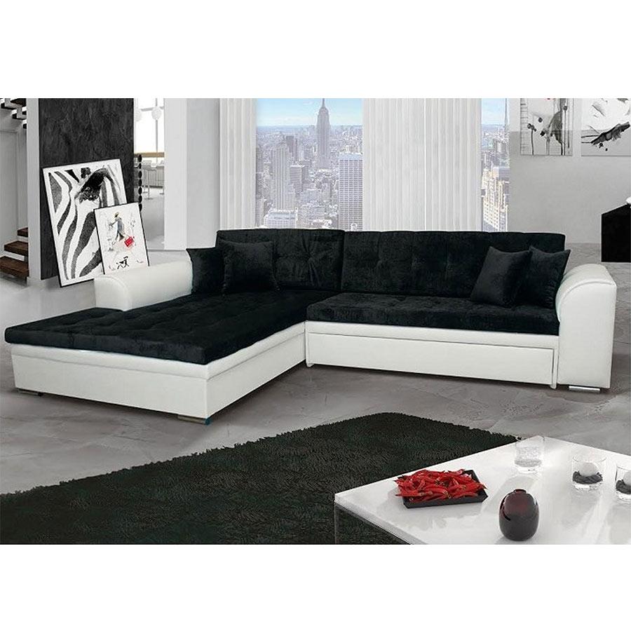 Meuble De Salon, Canapé, Canapé D Angle Noir Blanc - Kasalinea pour Canape Convertible Noir Et Blanc