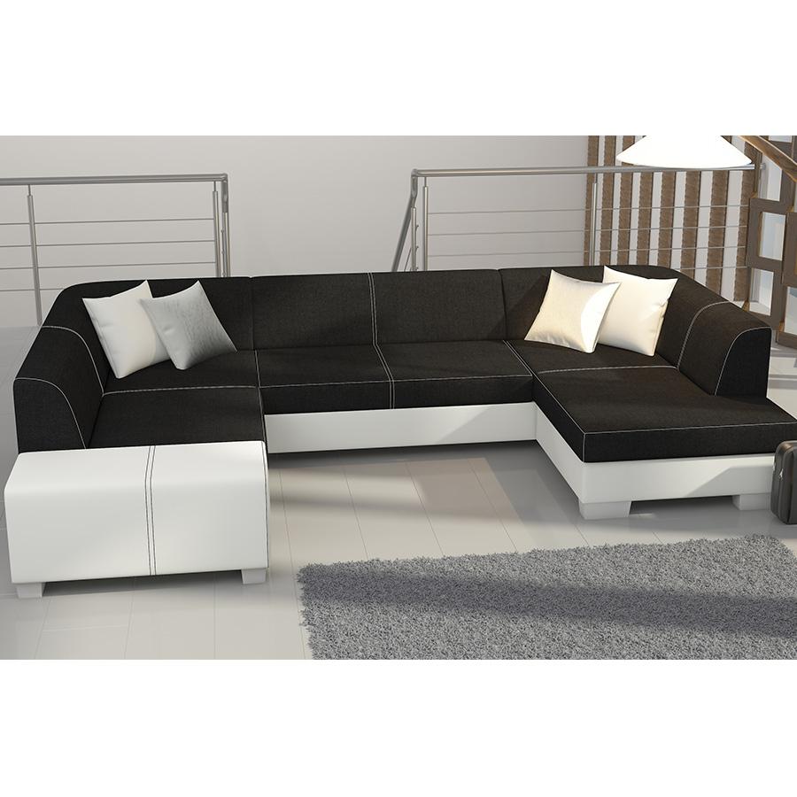 Meuble De Salon, Canapé, Canapé Panoramique Bicolore ... concernant Canape Convertible Noir Et Blanc