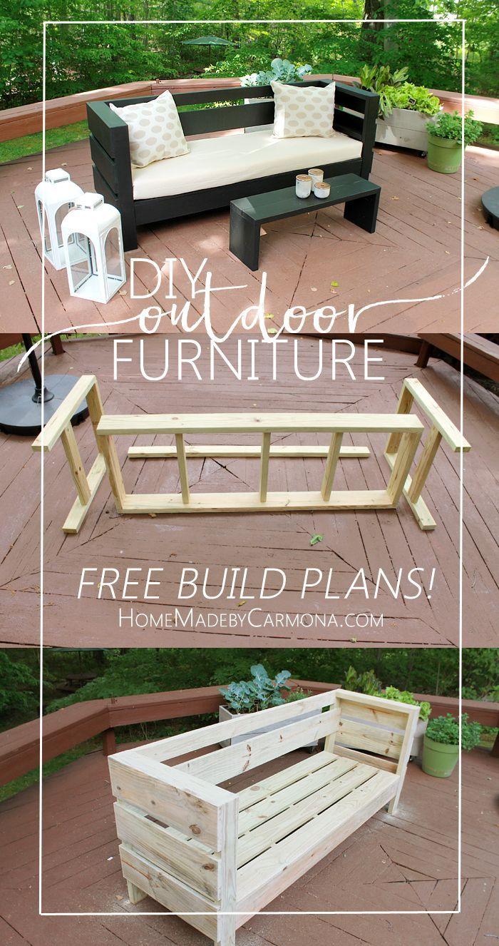 Outdoor Furniture Build Plans | Meuble Jardin, Mobilier ... à Meubles De Jardin En Palettes