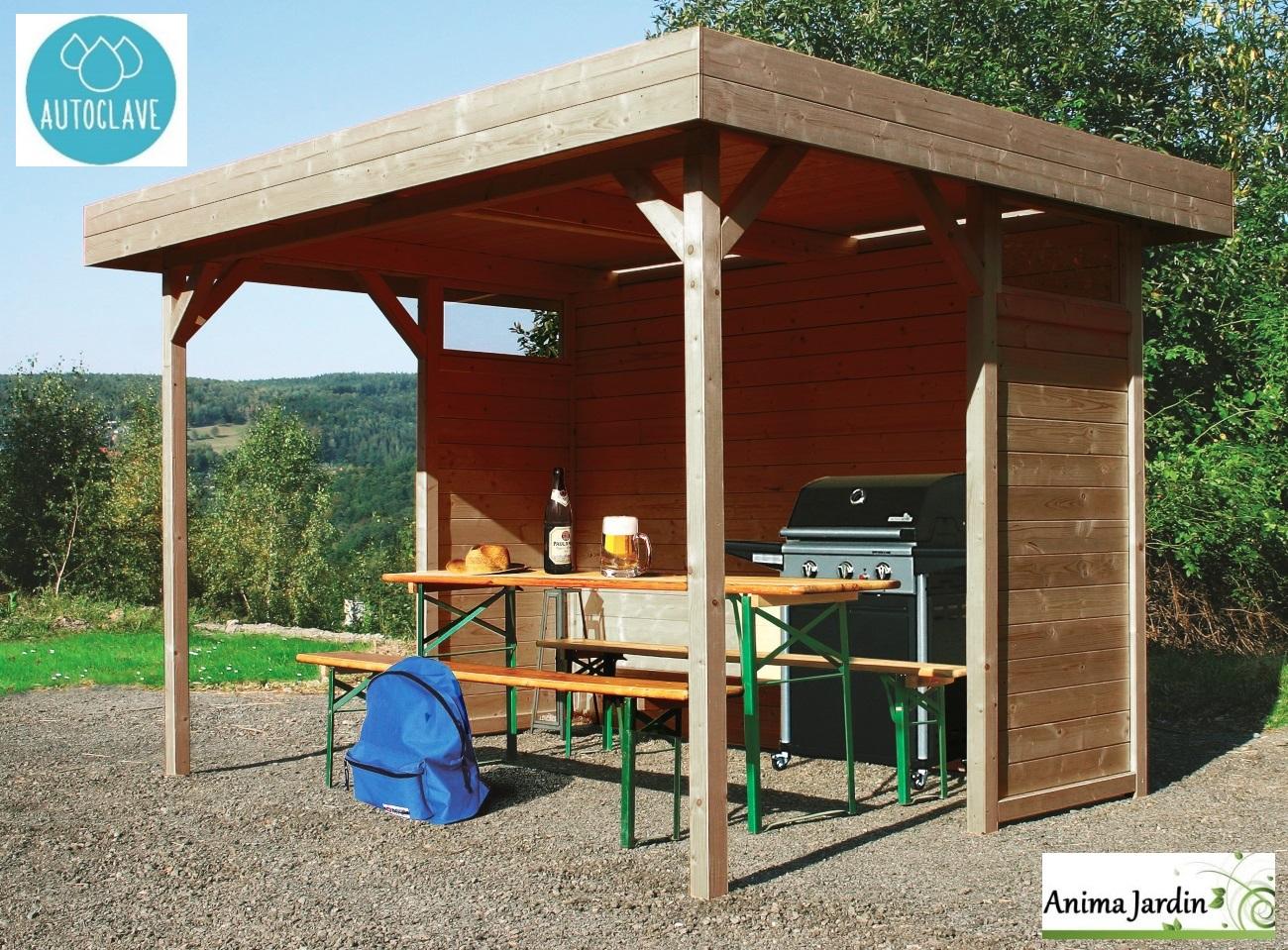 Pavillon De Jardin En Bois Autoclave 19Mm, Regensburg, 5M² ... concernant Abri Bois Exterieur