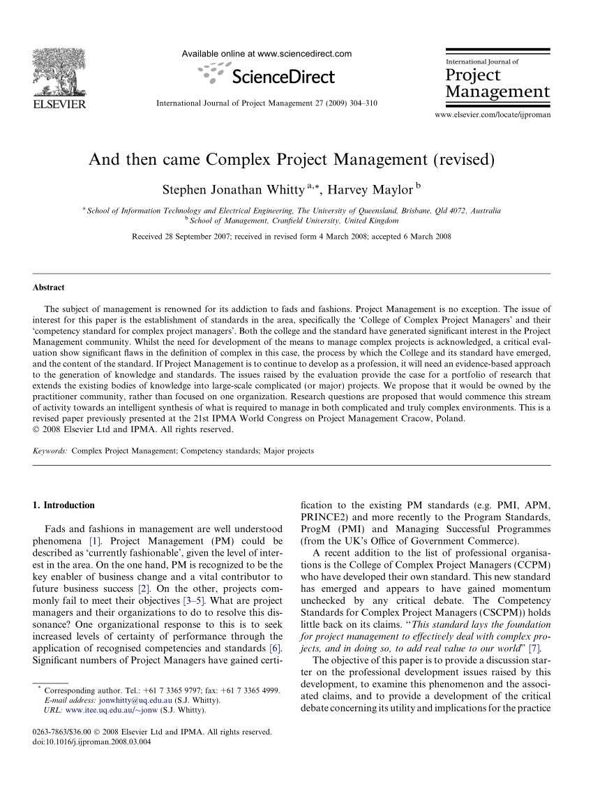Pdf) And Then Came Complex Project Management (Revised) concernant Amanagement Cour Extarieur