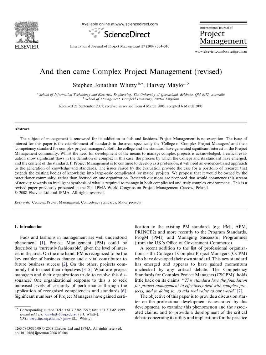Pdf) And Then Came Complex Project Management (Revised) concernant Amanagement Cour Extarieur