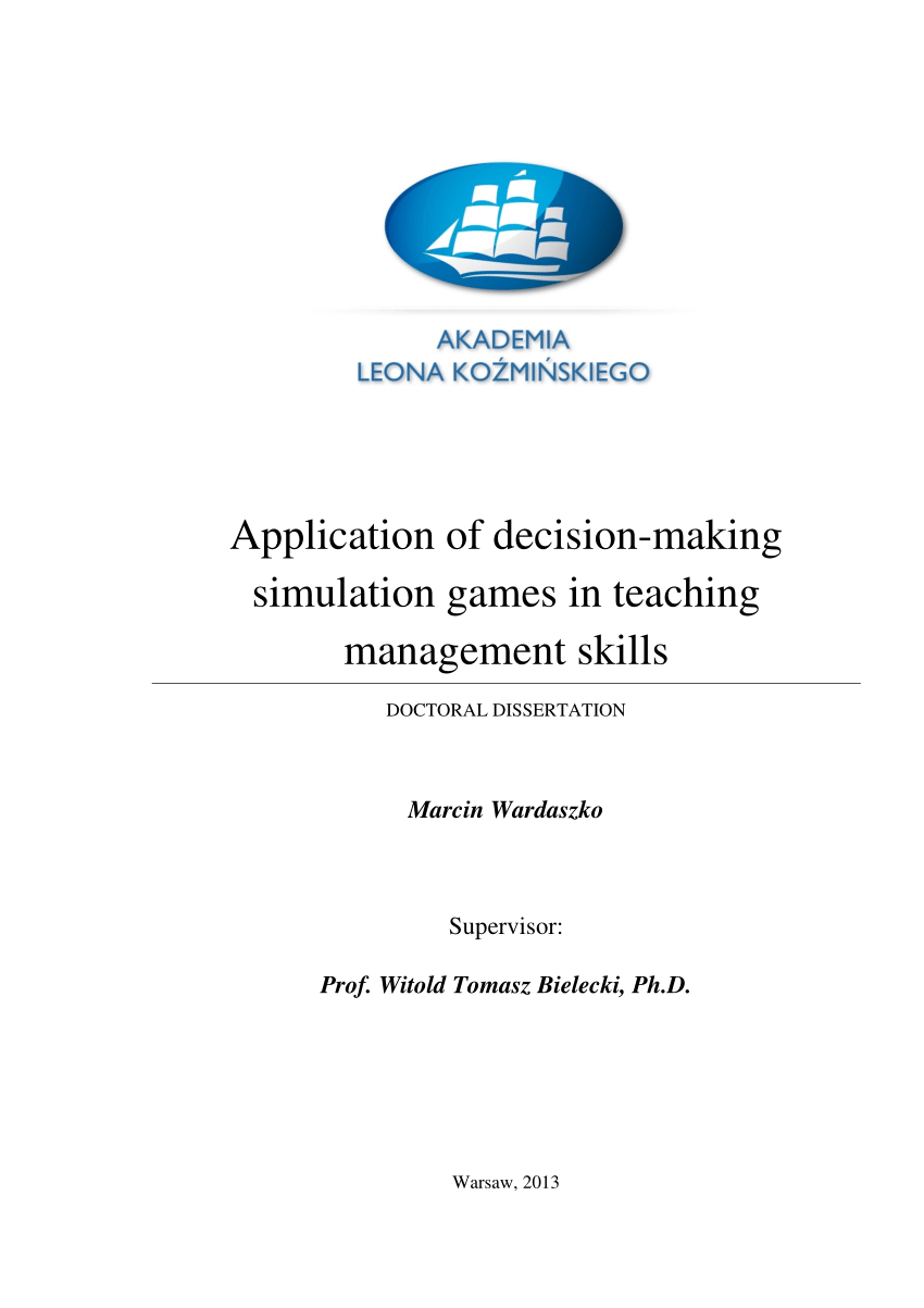 Pdf) Application Of Decision-Making Simulation Games In ... concernant Amanagement Cour Extarieur