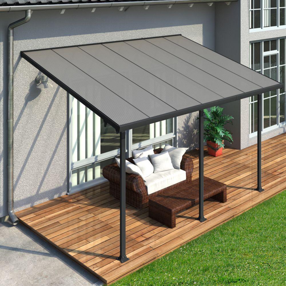 Pergola Toit Terrasse Aluminium Et Polycarbonate 4X3 M Gris à Toit Terrasse Aluminium