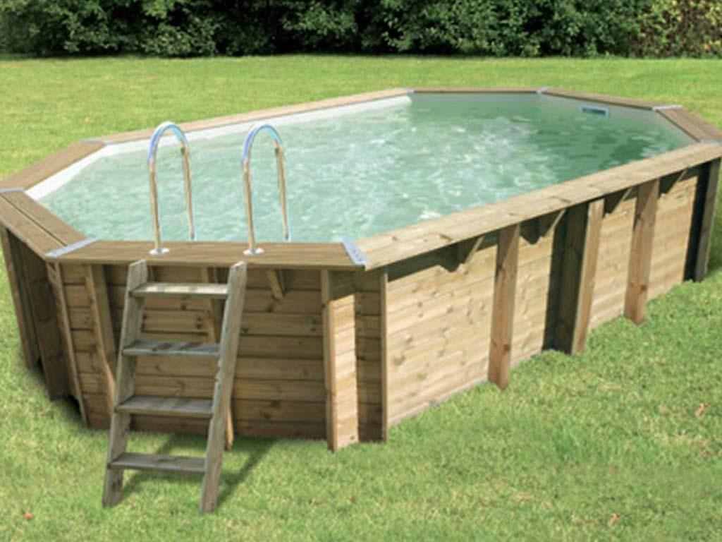 Piscine Bois Nortland Ubbink Sunwater Octogonale 300X490X120Cm Liner Beige avec Piscine Bois Composite