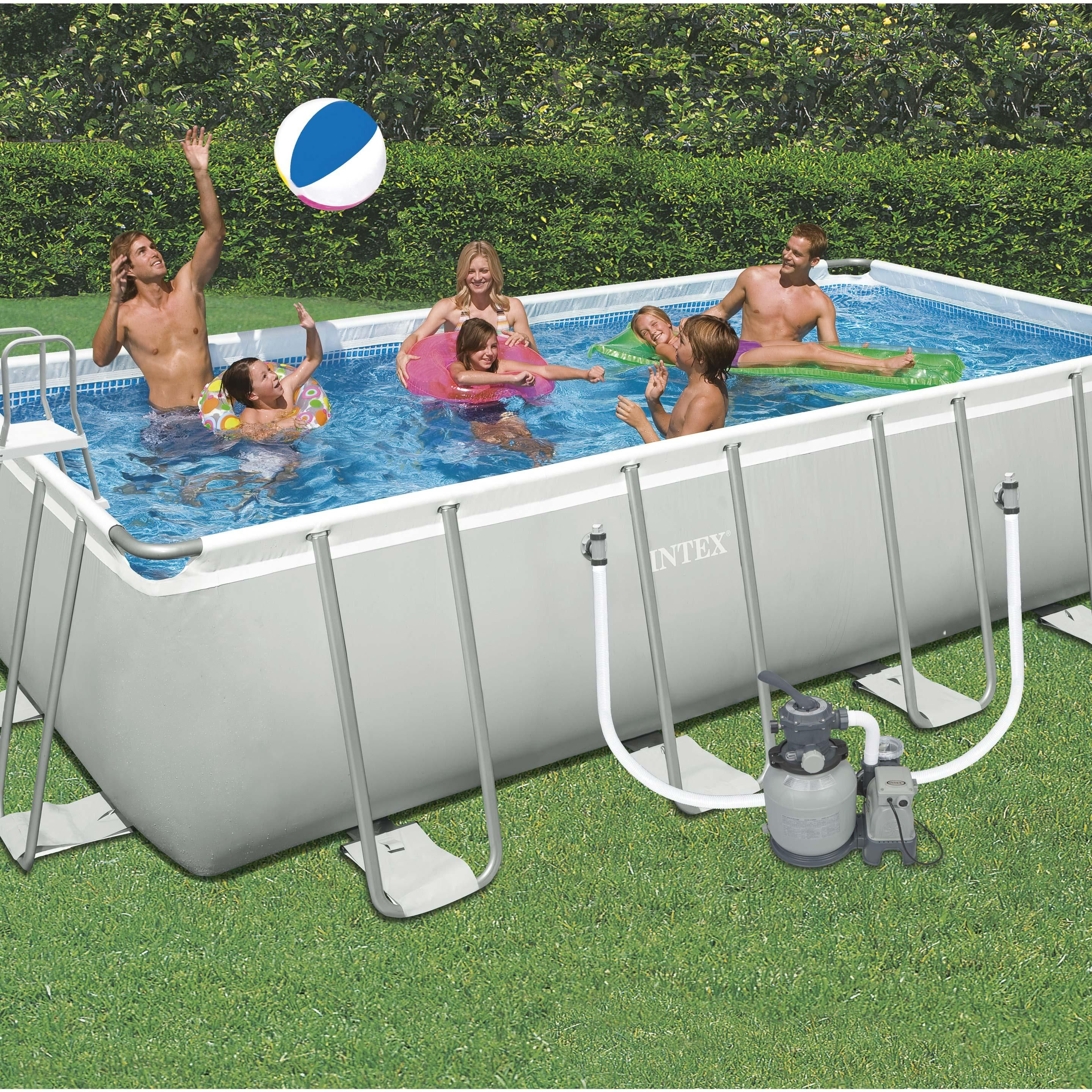 Piscine Tubulaire Ultra Intex, L.6.05 X L.3.3 X H.1.32 M En ... à Piscine Tubulaire Intex Pas Cher