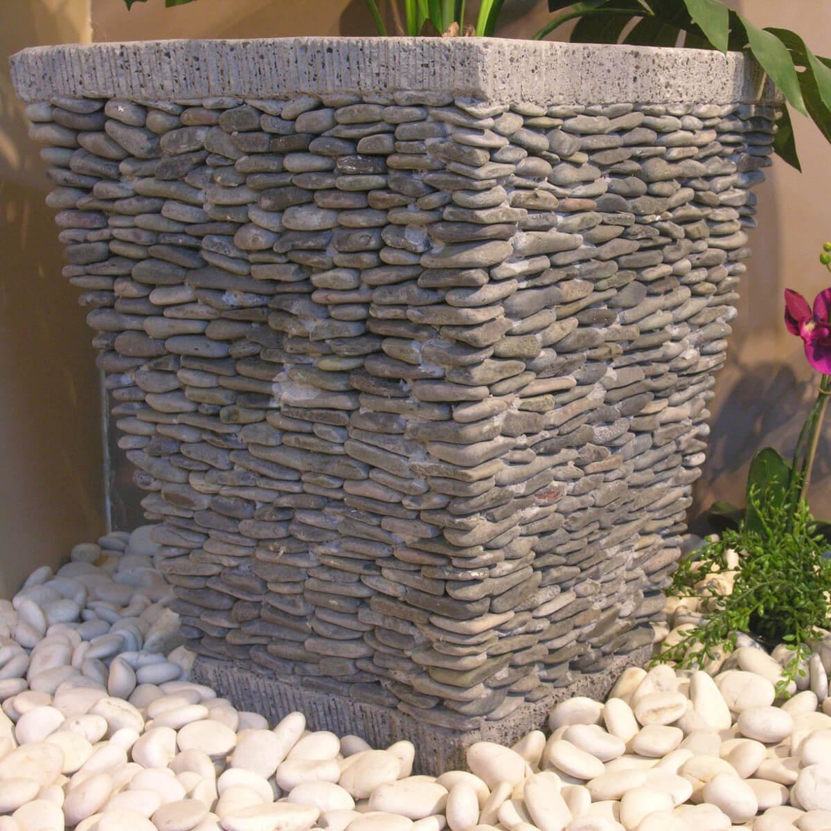 Pot Bac Jardinière Carré Galet 50Cm Jardin Extérieur Zen concernant Decoration Jardin Zen Exterieur