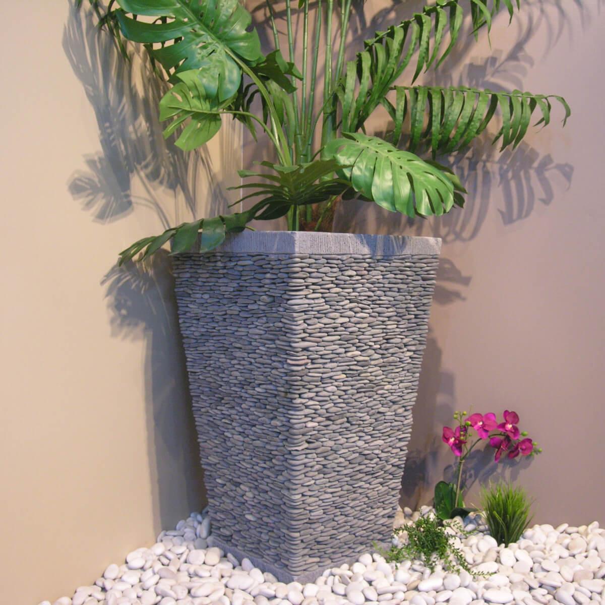 Pot Bac Jardinière Carré Galet 80Cm Jardin Extérieur Zen tout Decoration Jardin Zen Exterieur