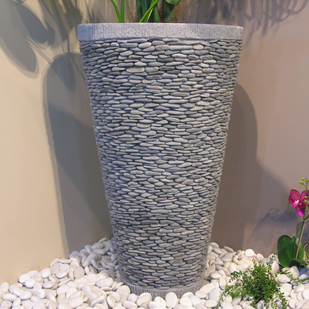 Pot Bac Jardinière Conique Galet 80Cm Jardin Extérieur Zen à Deco Zen Exterieur