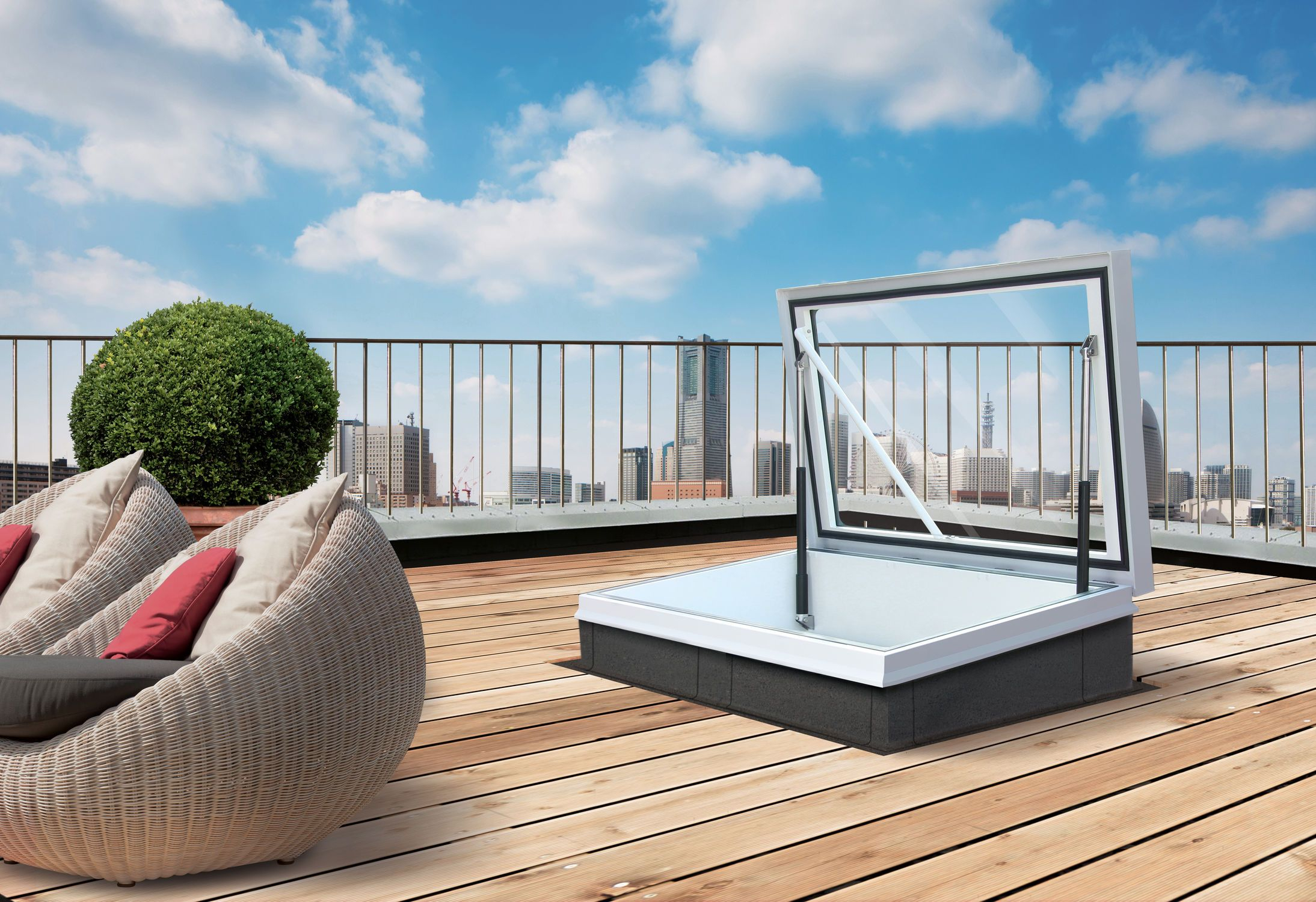 Roof Access Hatch / With Translucent Glass - Rhtg1015 ... dedans Acces Toit Terrasse