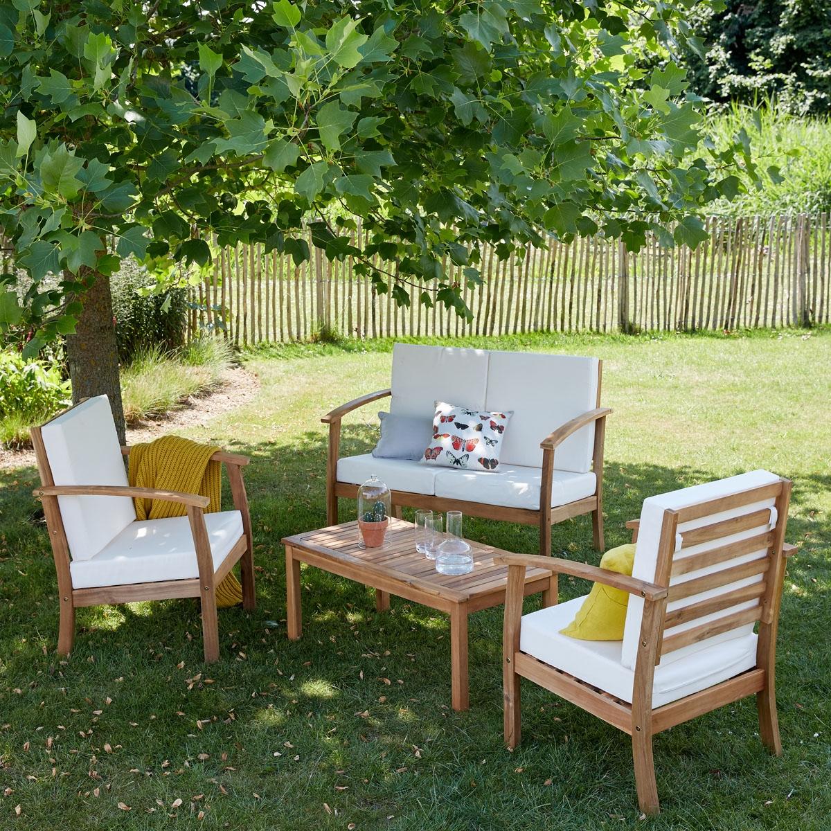 Salon Bas De Jardin En Bois D'acacia Fsc Hanoï   Bois Dessus ... intérieur Salon De Jardin Bois