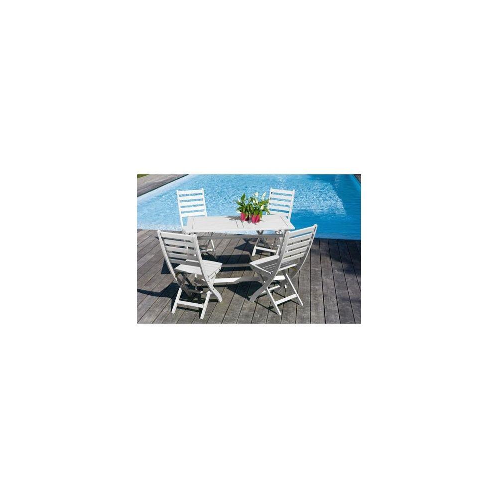 Salon De Jardin 4 Personnes Bois Blanc Table Balcon 120 X 60 Cm à Table Exterieur 4 Personnes