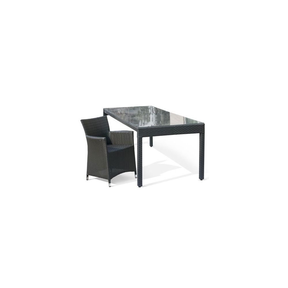 Salon De Jardin 4 Personnes En Résine Tressée Wicker Table 220 Cm + 4  Fauteuils pour Table Exterieur 4 Personnes
