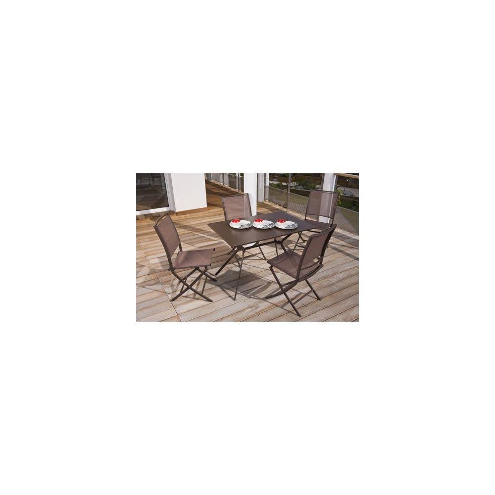 Salon De Jardin 4 Personnes Rouille En Acier Et Textilène Table 110 X 70 Cm  - Carbet encequiconcerne Table Exterieur 4 Personnes