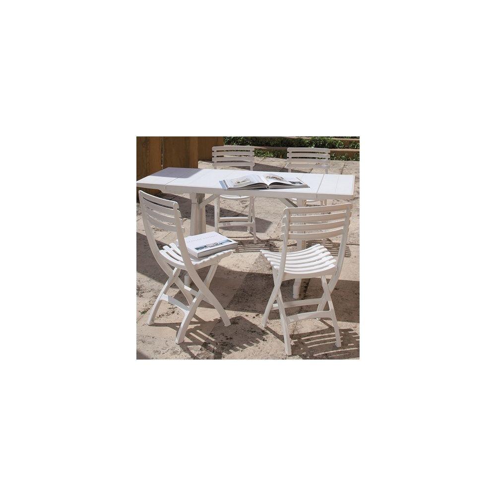 Salon De Jardin 4 Personnes : Table Perfecta 180/250/320 Cm Et 4 Chaises  Square - Blanc concernant Table Exterieur 4 Personnes