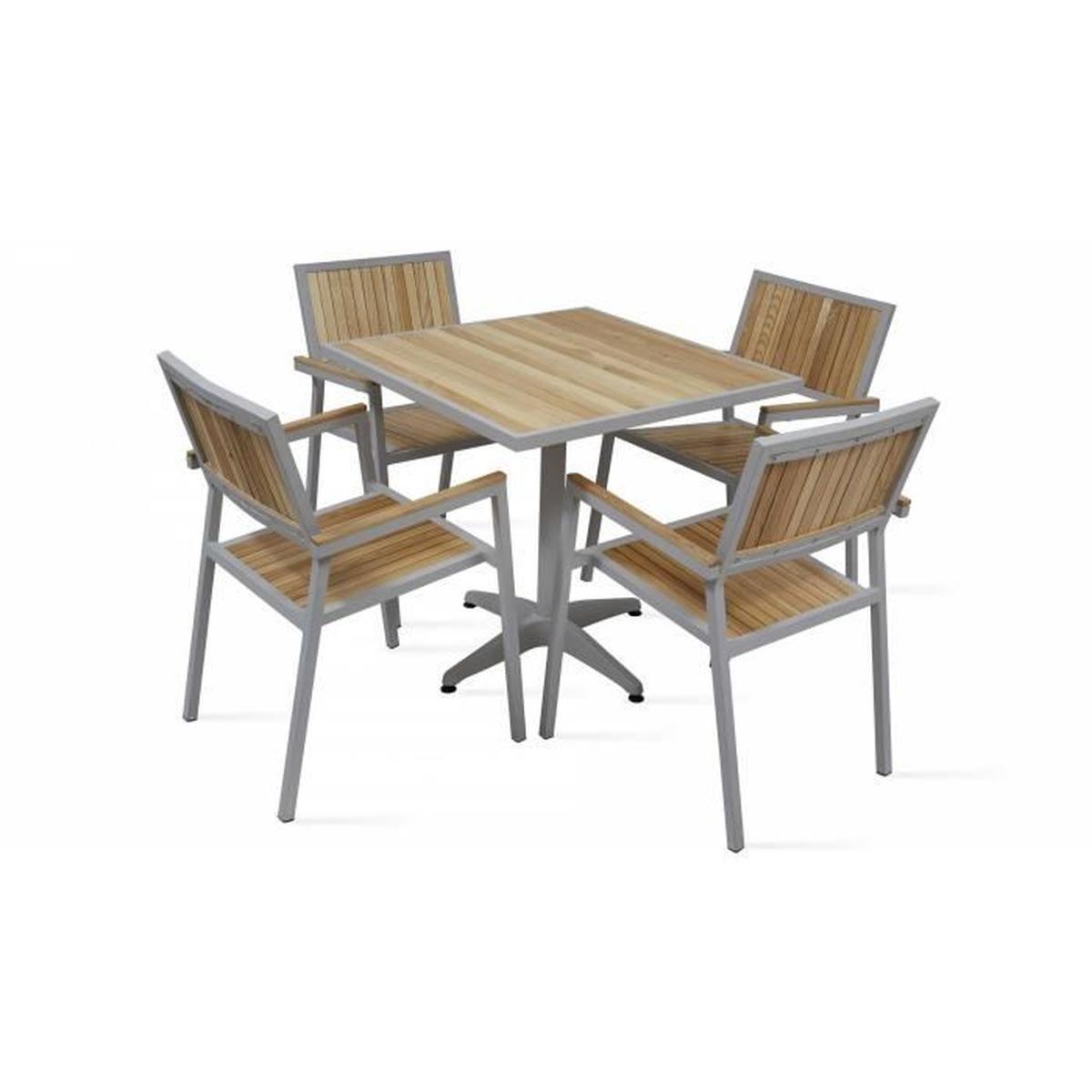 Salon De Jardin 4 Places - Table Carrée Et Chaises En Alu Et ... à Table Exterieur 4 Personnes