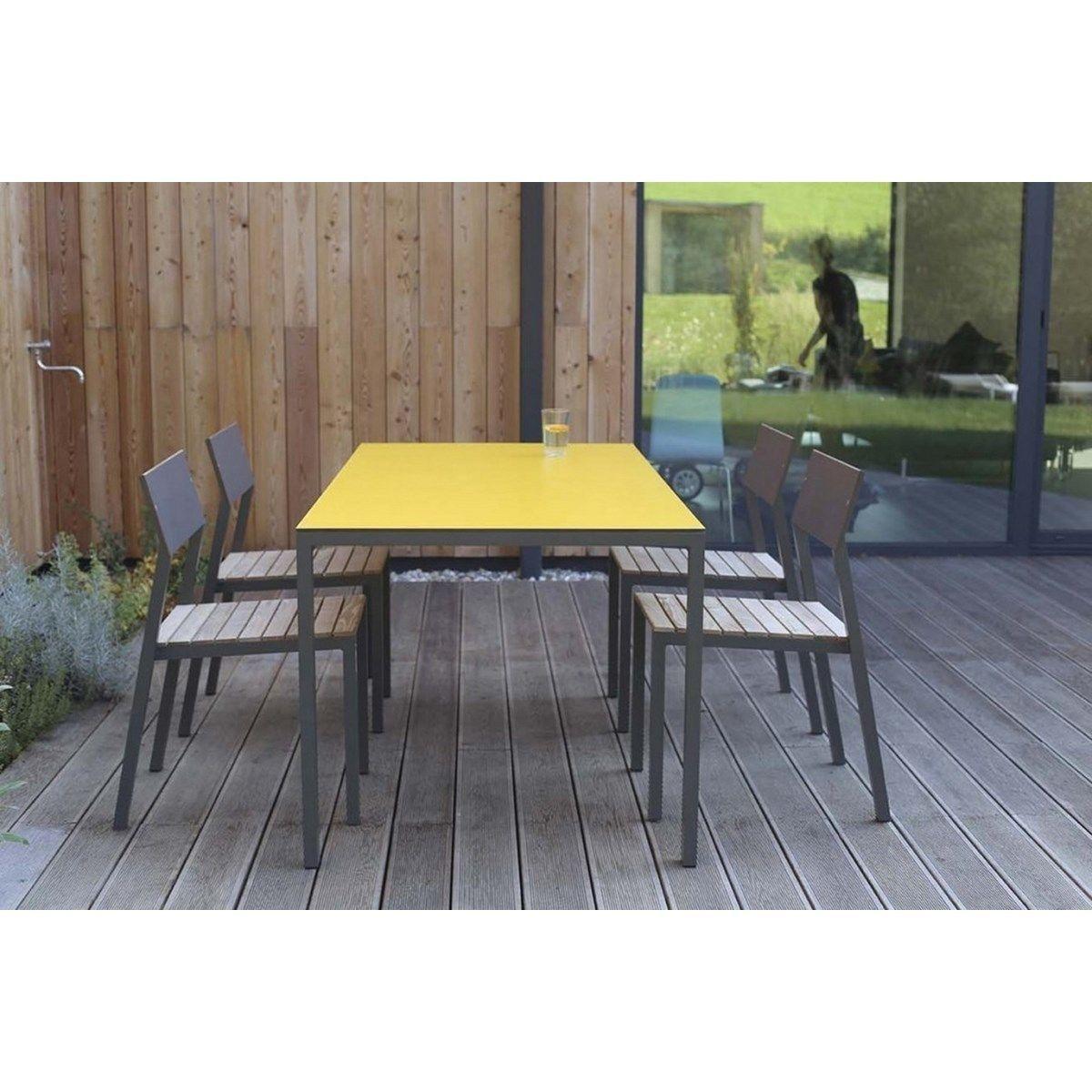 Salon De Jardin Cora Table Rectangle Plateau Hpl Jaune Et 4 ... à Salon De Jardin Cora