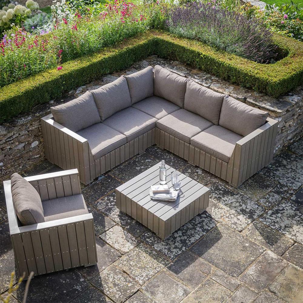 Salon De Jardin En Bois Composite Gris Taupe destiné Salon De Jardin Haut De Gamme