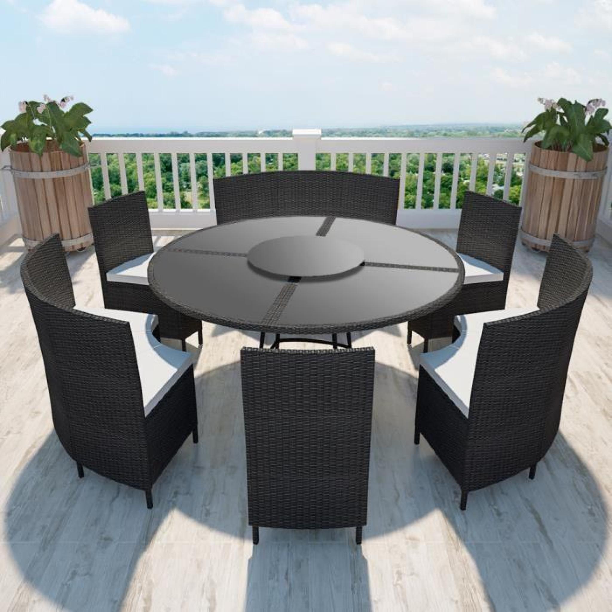 Salon De Jardin Noir En Polyrotin Table Ronde Et Chaises 12 Pers. pour Table Et Chaises De Jardin Pas Cher