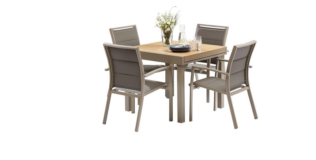 Salon De Jardin Polywood Taupe Table 4/8 Places 4 Fauteuils intérieur Table Exterieur 4 Personnes