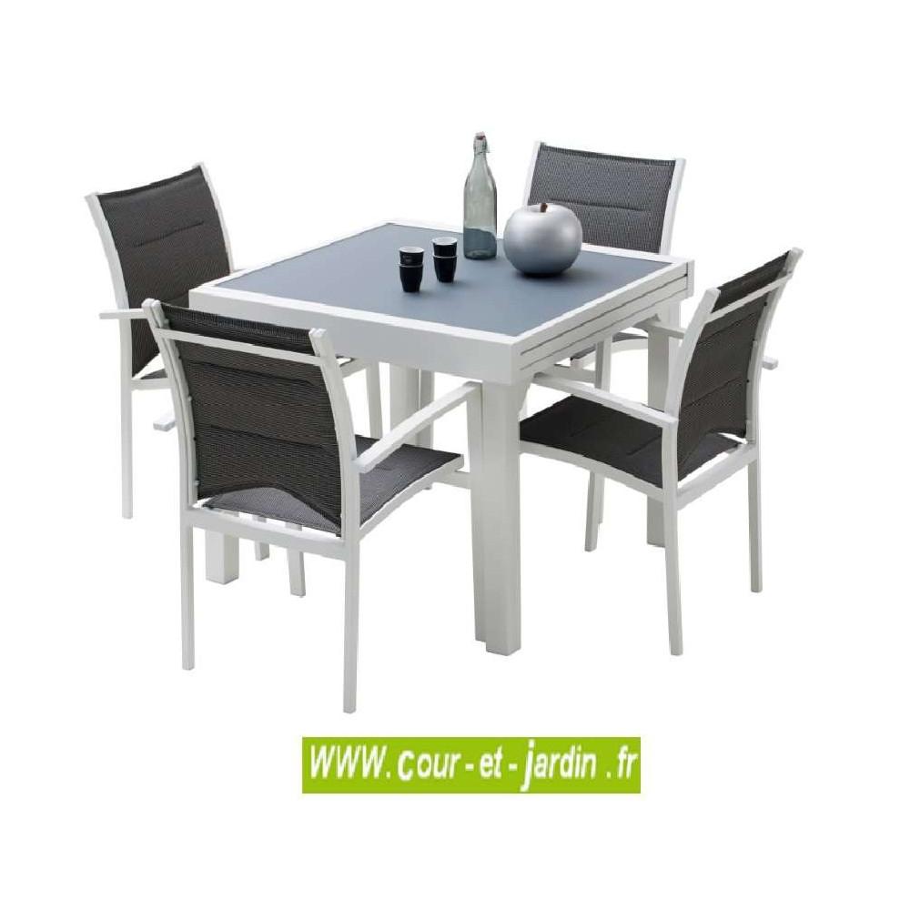 Salon Jardin Aluminium Modulo 4 Blanc, 4 Fauteuils Avec ... tout Table Exterieur 4 Personnes