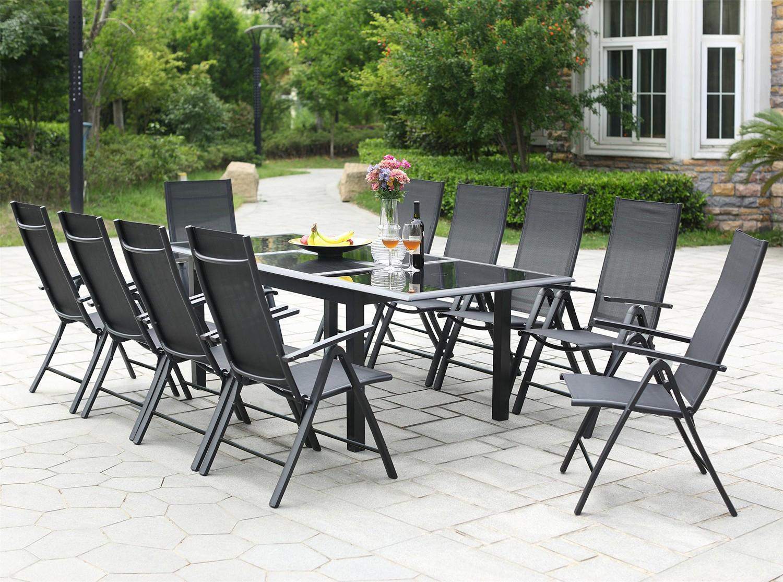 Salon Jardin Aluminium Table De Jardin Extensible 12 ... tout Table De Jardin En Aluminium