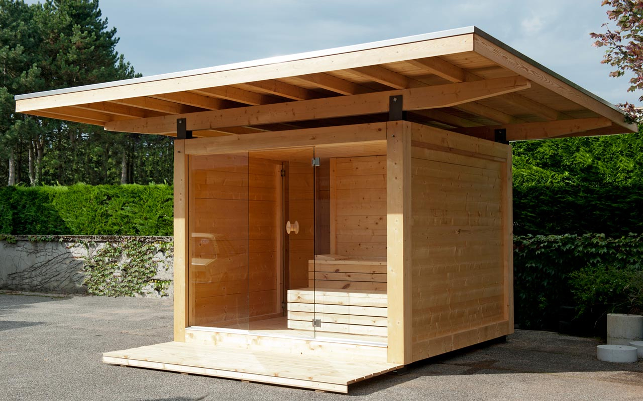 Sauna Exterieur. Sauna Torge Karibu Gris Opale 196 X 196 Cm ... pour Abri Bois Exterieur