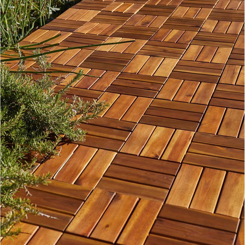 Sienoc Sets De Dalles De Terrasse Bois Composite Wpc Jardin ... concernant Terrasse Dalle Bois