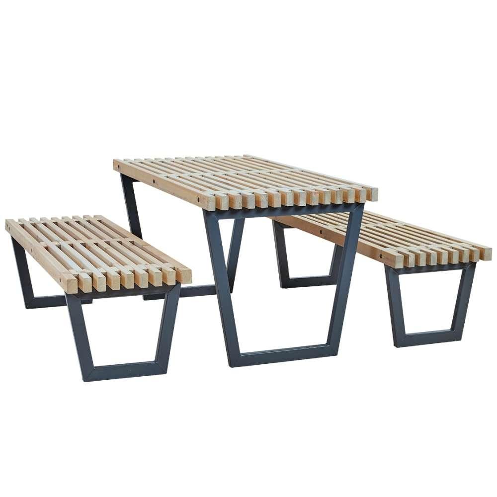 Siesta Garden Table Set Including Table, 2 Garden Benches ... serapportantà Table Jardin Bois