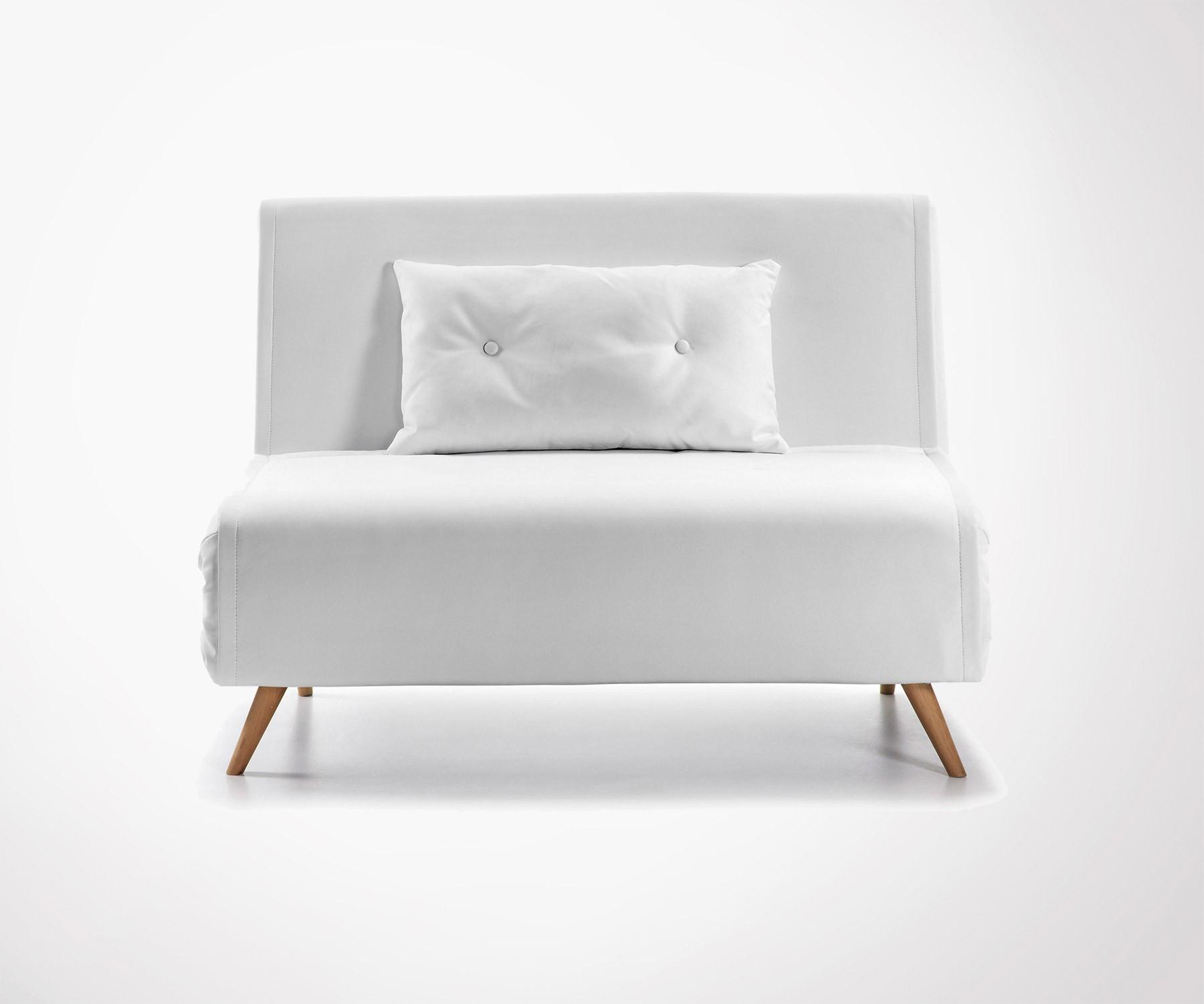 Sofa Chauffeuse 1 Place Simili Cuir Pas Chère Et Design tout Canape Convertible Cuir Blanc
