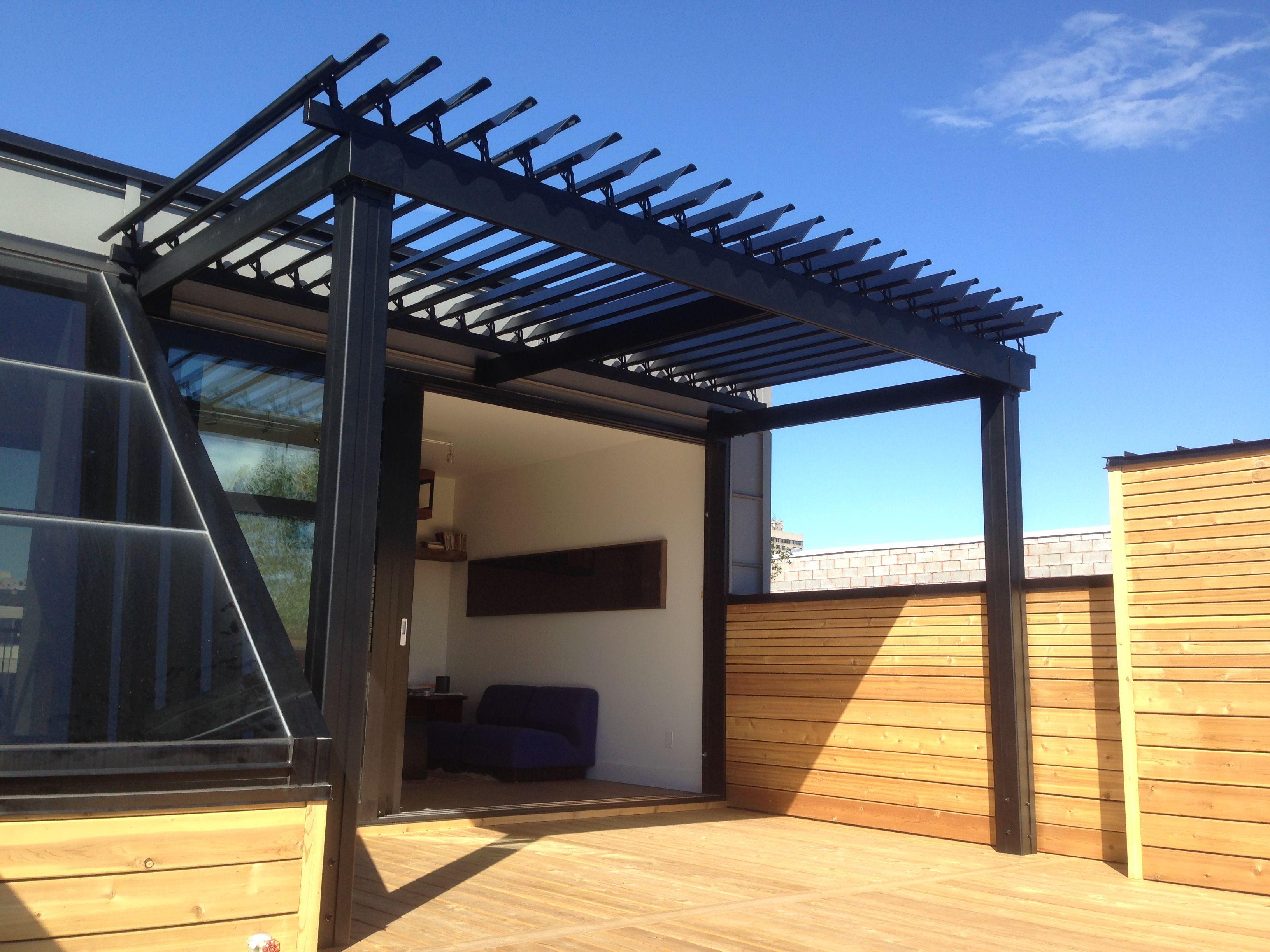Sunlouvre Pergolas Sur Un Toit-Terrasse. #pergola #pergolas ... à Toit Terrasse Aluminium