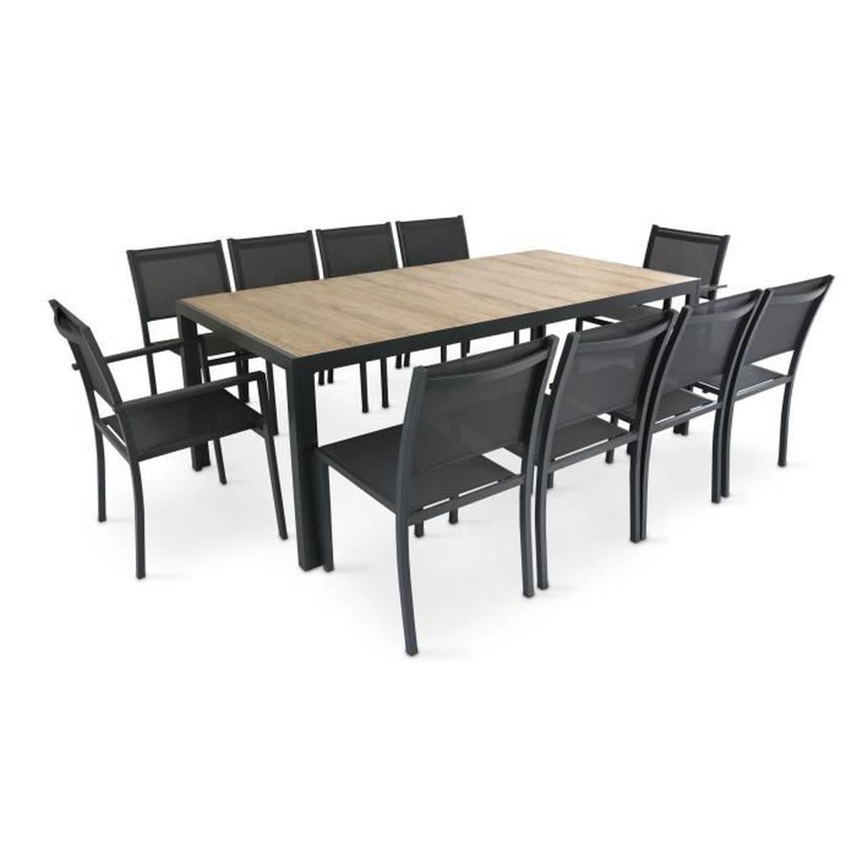 Table De Jardin 10 Places Aluminium Et Céramique - Ensemble ... destiné Table Exterieur 4 Personnes