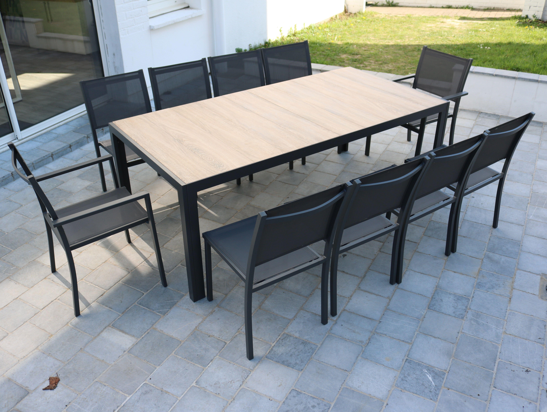 Table De Jardin 10 Places Aluminium Et Céramique - Gris ... intérieur Table De Jardin En Aluminium