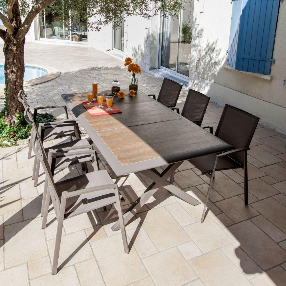 Table De Jardin Ceram Aluminium/plateau Céramique Café dedans Table De Jardin En Aluminium